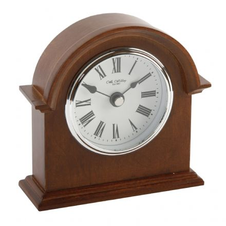 Broken Arch Light Wood Mantel Clock with Black Roman Dial